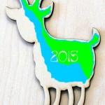 2015 Сине - Зеленая Деревянная Коза.